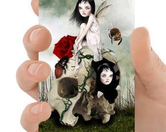 Fantasy ACEO print | Creepy cute fairies & skull | Fairy art | Collectible card | Mixed media digital illustration