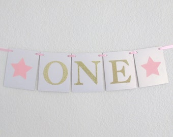 Twinkle Twinkle Little Star High Chair Banner Pink Gold High Chair Banner ONE High Chair Banner Twinkle Star First Birthday Pink Gold Party