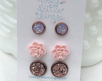 Rose Gold Druzy Earrings,  Blush Succulent Posts, Tiny Blush Studs,  3 Pairs Bridesmaid Gifts, Lead and Nickle Free Stainless Posts