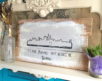 Wedding Shower Gift New rustic, Pallet Sign, Cityscape art, Philly skyline, Philly art, Cityscape print, reclaimed Wood wall art Phila