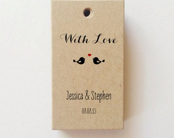 MINI With Love Birds Tags Wedding Favor Tags With Love Tags Custom Wedding Tags Shower Favor Tag Welcome Bag Tag (25) 1.125 in x 2 in