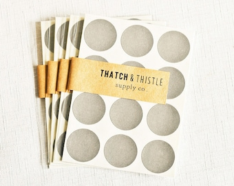 48 Charcoal Gray Circle Stickers - 1 Inch Envelope Seals Labels Gift Wrapping Party Invitations Embellishment Pretty Packaging