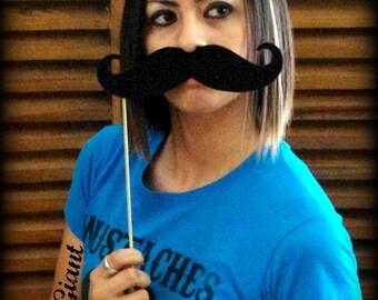 Giant Mustache on a Stick - The Giant Handlebar-Little Man Party-Mustache on a stick-giant mustache-Little Man-Photo props-photo booth-props