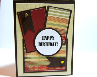 Masculine Happy Birthday Greeting Card, Birthday card for man or boy in Brown, Copper, Tan with Stripes
