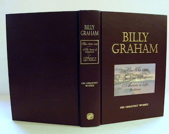 BILLY GRAHAM His Greatest Works Peace With God Religion Book 1995 Hardcover Gilt Gold Edges on Pages