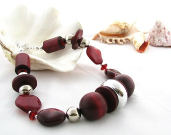 Upcycled Necklace in Rich Red