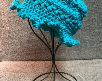 Turquoise Crocheted HatHats, Caps, Crochet, Winter Hats, Beanies, Skull Caps, Made in America