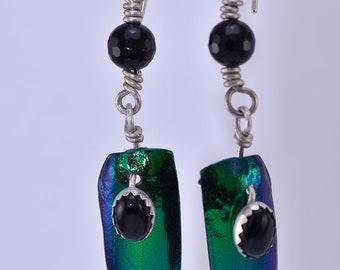 Onyx and Elytra Beetle Wing Earrings