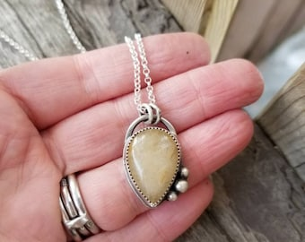 Handmade Peach Moonstone Statement Necklace, Sterling Silver Peach Gemstone Pendant