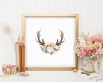 Square printable art, Antler print, Antler wall art, Square nursery print, Watercolor antlers, Floral nursery art, Wall art, Home decor art