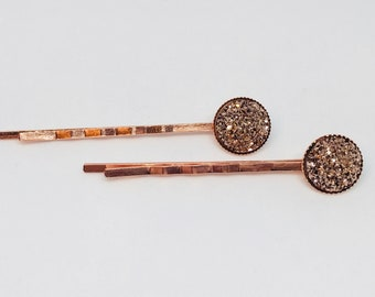 Rose Gold Bronze Copper Sparkle Hairpin Bobby Pins in Rose Gold Setting