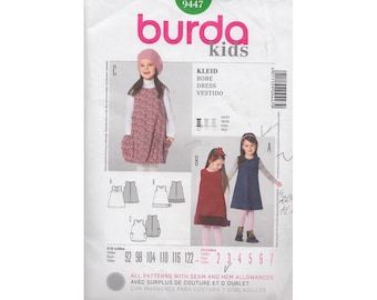 Girls Sleeveless Shift Dress or Bubble Jumper with Big Pockets Easy to Sew Burda Kids Sewing Pattern 9447 Size 2 to 7