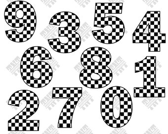Checkered number svg - Checkered flag svg - Checkered number digital clipart for Print, Design or more , files download svg, png, dxf