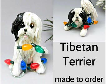 Tibetan Terrier PORCELAIN Christmas Ornament Figurine Made to Order