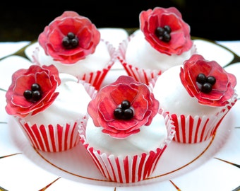 Edible Red Poppies x 10 3D Poppy Flowers Wafer Rice Paper Chocolate Popping Candy Centres Wedding Cake Decorations Birthday Cupcake Toppers
