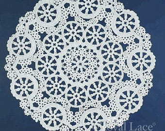 """8"""" Medallion Lace White Paper Doilies Royal Lace, 20/PK Made In The USA"""