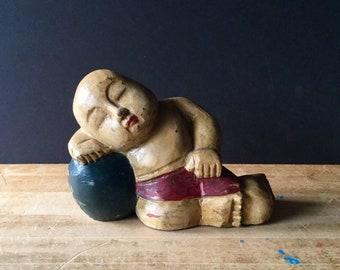Vintage Buddha Sculpture, Baby Buddha, Antique Buddha, Meditating Buddha, Painted Buddha, Sleeping Buddha, Serenity Buddha, Garden Art