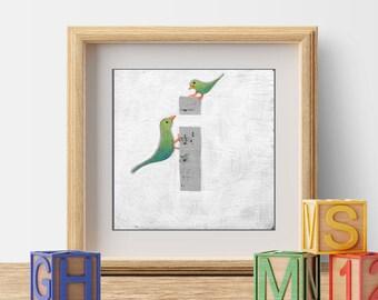 Kid's Monogram Art, Nursery Prints, Wall Decor, Cute Bird Prints, Letter I, ABC Letters, Bird Illustration, Monogram Letters