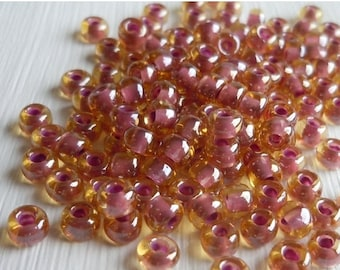 """Store Closing 40% OFF 6/0 Toho Seed Beads -  Inside Color Light Topaz Pink Lined - 2.5"""" Tube (BX - 1)"""