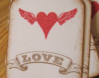 Our Love Has Wings Valentine Favor Tags