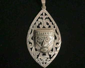 Sterling Silver Mayan Pendant