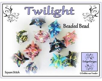 Beading Pattern, Tutorial, Beaded Bead - TWILIGHT