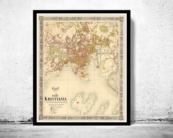 Old Map of Oslo Norway 1881 Antique Kristiania