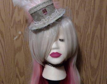 Grey & Pink Mini Top Hat