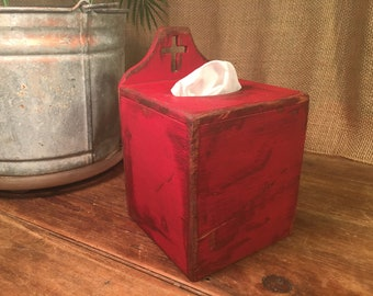 Rustic Primitive Tissue Box Cover Holder Home Decor Barn Red