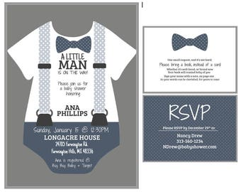 Little Man Baby Shower Invitation and Bring a Book insert, Bowtie Baby Shower, Baby Boy, Blue White Gray Polka Dot