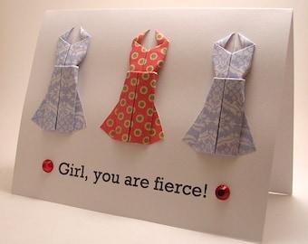 Mini Origami Dress Card (You are fierce, red blue)