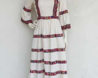 Incredible late 1960's Julie Miller linen bohemian rainbow maxi dress