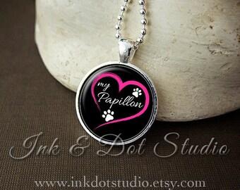 Love My Papillon Necklace, Papillon Pendant, Papillon Gift, Dog Lover Gift, Paw Print Necklace, Dog Breed Jewelry