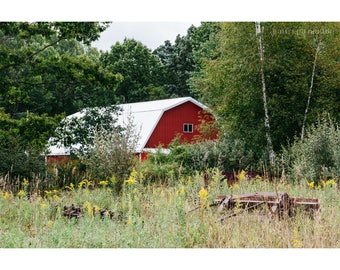 Red Barn Rustic Photography Landscape Photography Architecture Photography Rustic Decor Michigan Art Rural Photography Rural Michigan Art