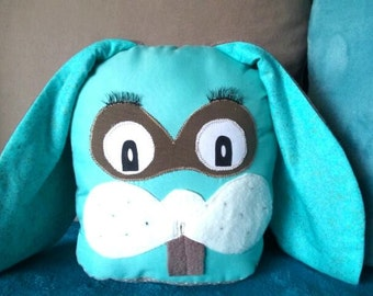 taupe and turquoise blue bunny blanket