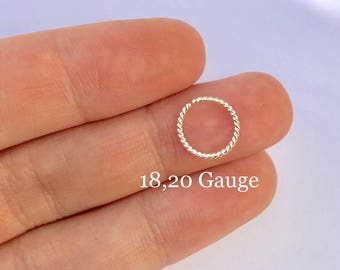 Silver or Gold Nose Rings 18G 20G 22G 24G 6mm 7mm 8mm 9mm 10mm Silver Filled Nose Hoop Ring