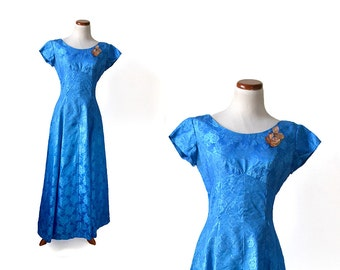 Blue formal dress, blue prom dress, vintage dress, 1960s dress, 60s dress, size small, evening gown, formal gown