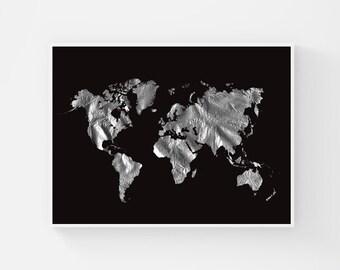 Black World Map Poster, Silver Foil Map of the World, Minimalist Large World Map Wall Art, World Travel Map, Printable World Map, Wanderlust
