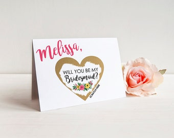 Scratch-off SET OF 4 or more Will you be my Bridesmaid Cards - Maid of Honor, Matron of Honor, Bridesmaid Ask Card with Metallic Envelope