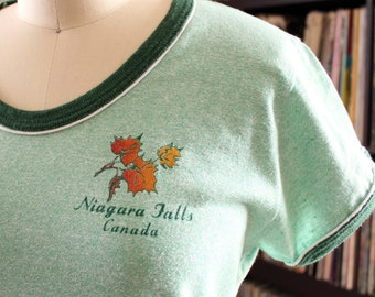 heather green vintage 1970s t-shirt Niagara Falls Canada, womens ringer tee, Sunburst Fashions 50/50