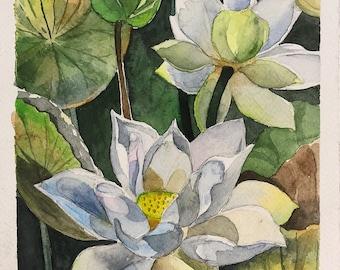 Watercolor Aqua Flowers Artwork|Decor Flowers Painting|Original Watercolor|Home Gifts