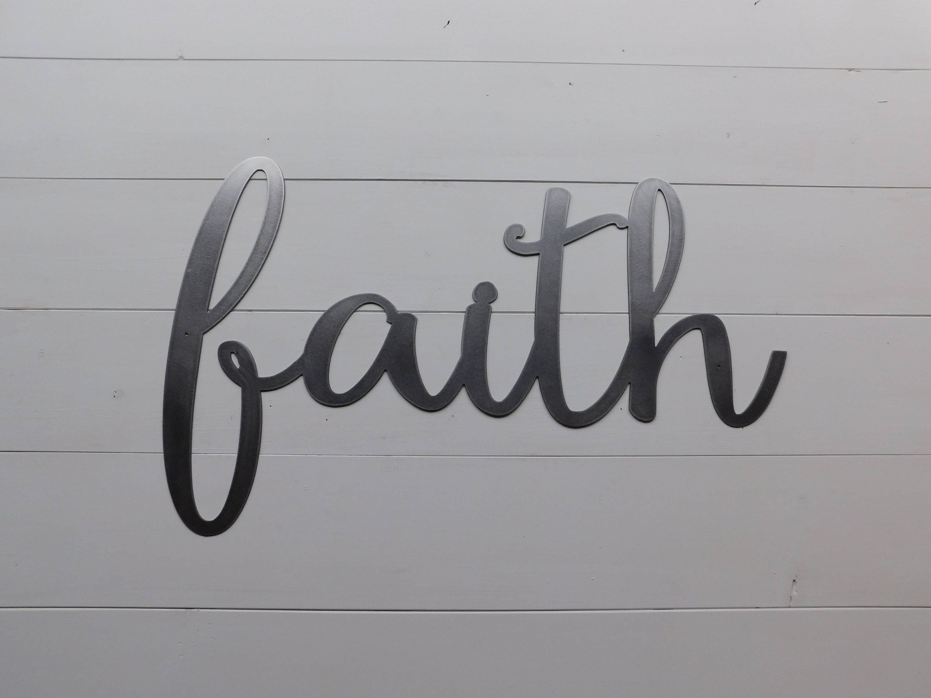 Metal Wall Word Signs Faith Sign Metal Faith Home Sign Rustic Word Art Sign Metal