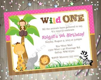 Safari animals invitation jungle animals invitation wild one safari birthday invitation invite 1st birthday girl pink printable DIY