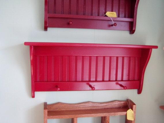 Wood Wall Shelf Shaker Style Country Coat Rack 30