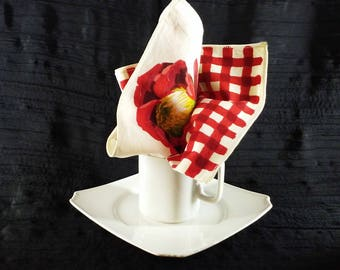 Vintage Red and White Checked and Flowered Napkins Set of 6