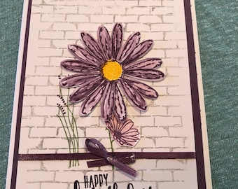 Handmade Purple Flower Happy Birthday Card