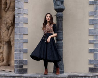 Ladies organic cotton anarkali dress indian black blue block print IKAT