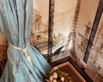 """NEW!Sublime Made To Order Huge French Damask Gold Pale Blue Turquise 118"""" Long 55"""" Width Lined Long Bay Curtains"""