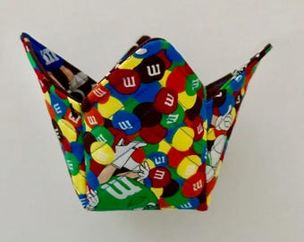 Small Square Fabric Box, M & M Fabric, Handmade, Christmas Gift, Teacher, Hostess Gift, 100% Cotton Fabric