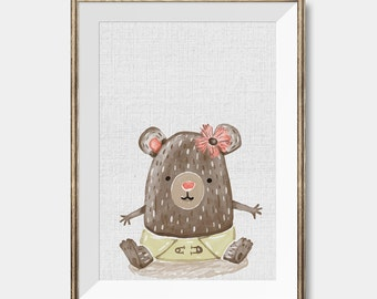 Woodland Nursery, Bear Print, Animal illustration, Animal Art print, Woodland animal, Nursery room decor,Baby Shower Room,Woodland Art Print